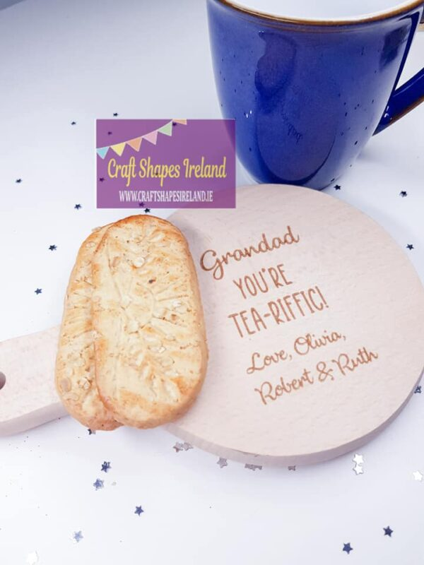 Tea-riffic coaster with handle