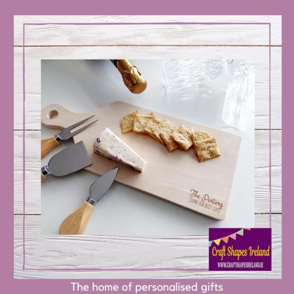 Personalised chopping, platter board with handle
