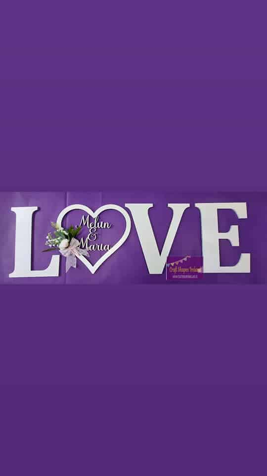 LOVE - Personalised Heart - colour Choice
