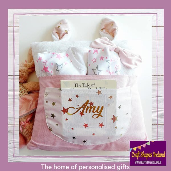 Personalised Bunny Cushion with Pockets - Pink