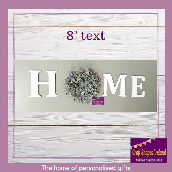 """HOME - 8"""" Letters with lavender wreath - colour choice"""