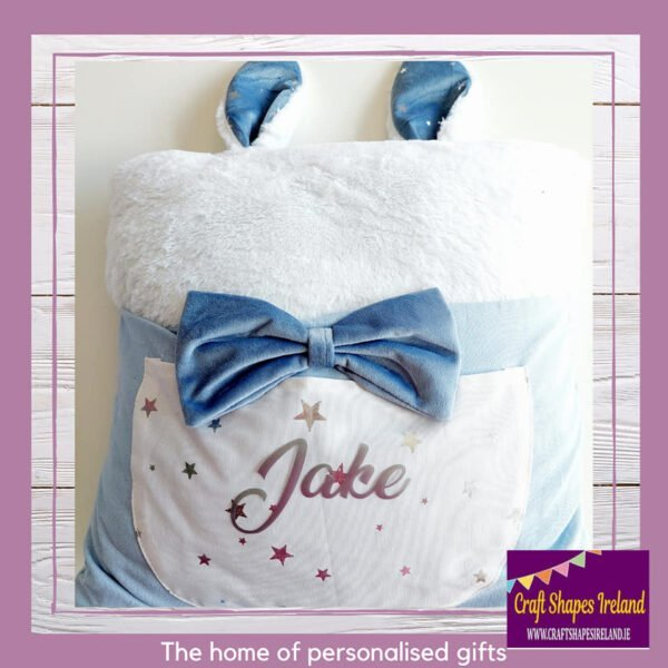 Personalised Bunny Cushion with Pockets - Blue