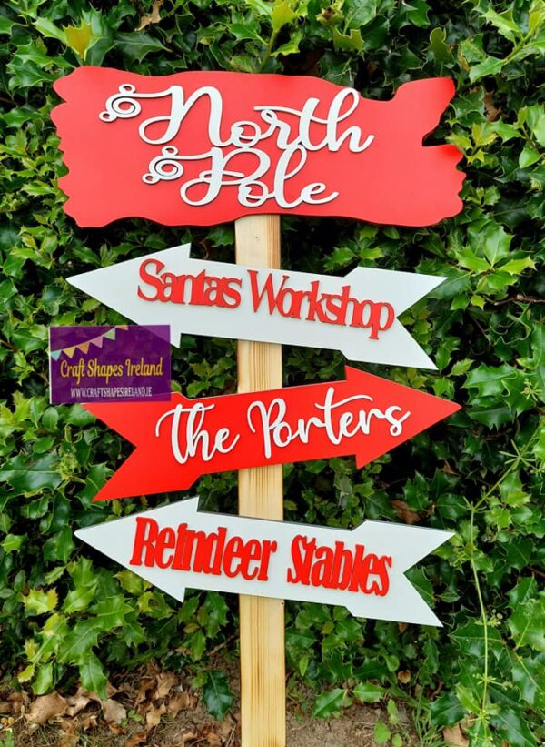 Personalised North Pole Direction Post