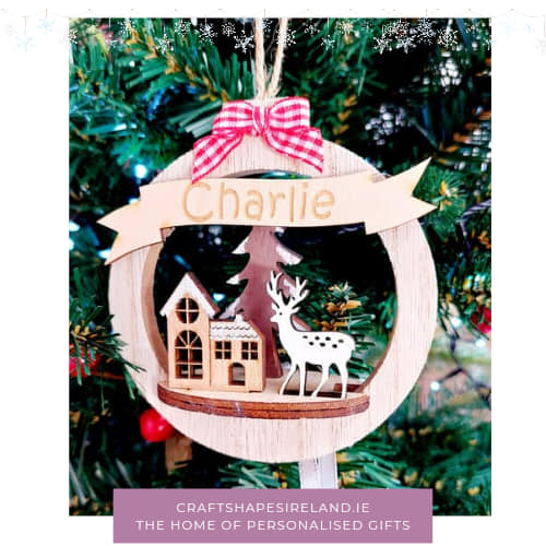 Personalised 3D wooden bauble
