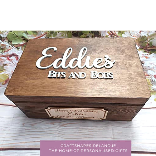 Personalised stained box  - Birchwood front tag