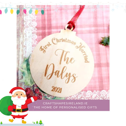 Personalised Bauble First Christmas Married