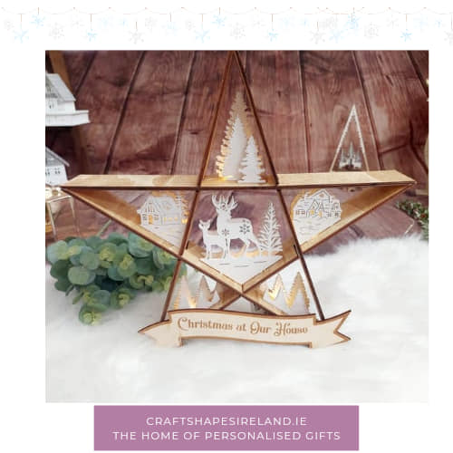 Personalised 40cm lit filled Star - Houses