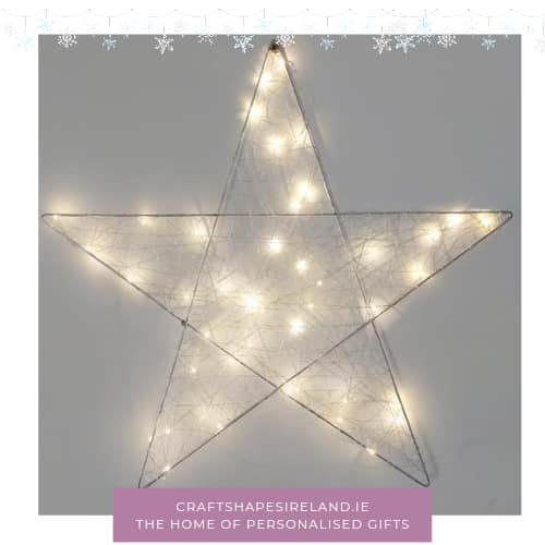 Silver metal Light up star - Choice of Sizes