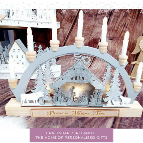 Personalised battery lit candle arch - nativity