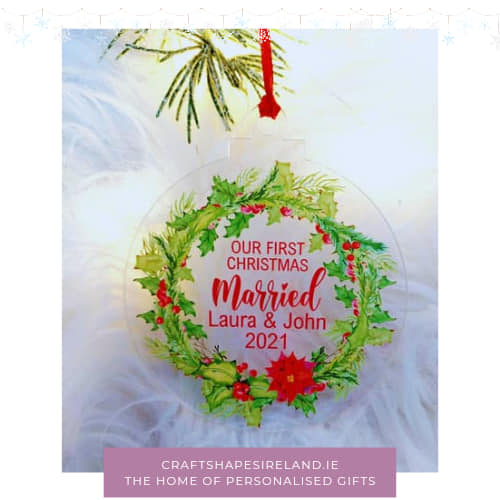 Personalised Our first Christmas Married - clear