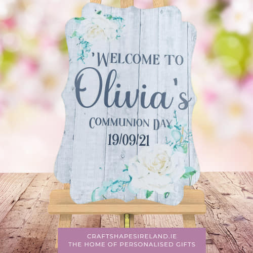 Eucalyptus Grey - Communion Sign - Personalised Welcome