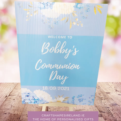 Powder Blue - Communion Sign - Personalised Welcome.