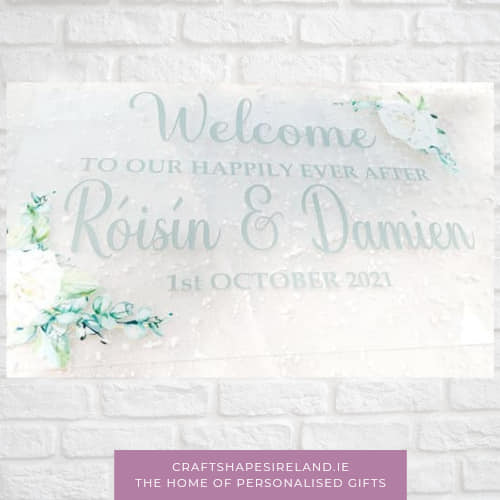 White Florals -Clear Acrylic personalised sign
