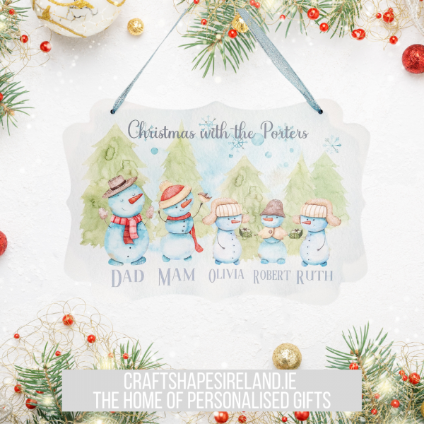 Personalised Snowman Family Plaque